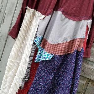 Dresses & Skirts - Boho Patchwork Plaid Shirt Dress Upcycled